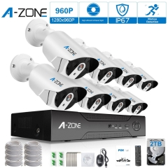 A-ZONE 8Ch 1080P NVR HD 960P IP PoE Sicherheitskamera System + 8 Outdoor / Indoor Fixed Objektiv 960P Kameras + 2TB HDD